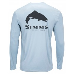 Camiseta Simms Solar Tech Tee Trout Logo - Steel Blue